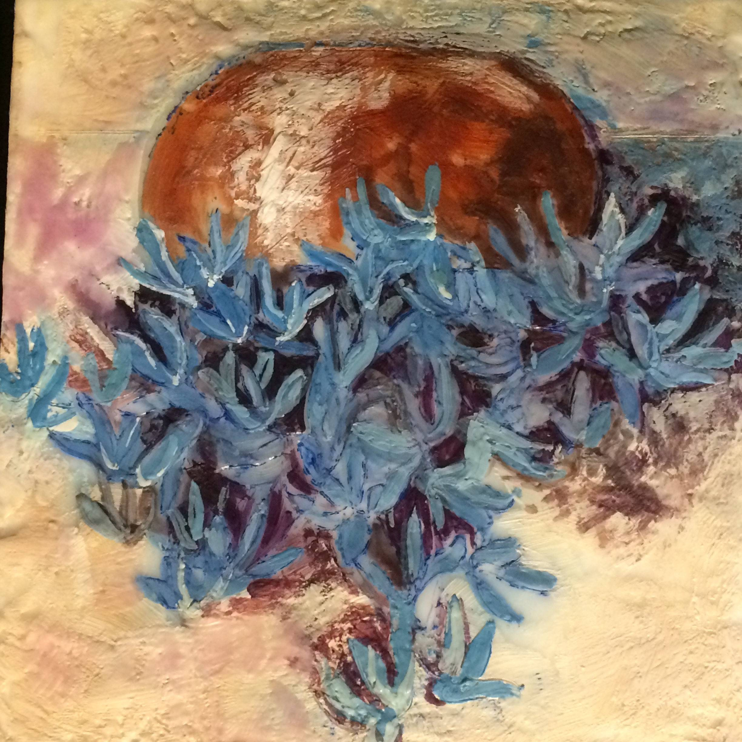 blue flowers in copper vase   SOLD
