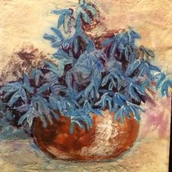 blue flowers in copper vase   SOLD