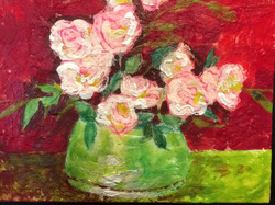 white and pink flowers in green vase