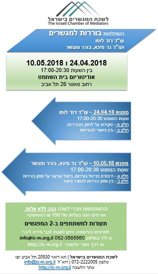 הזמנה להשתלמות בוררות למגשרים 10.5.2018