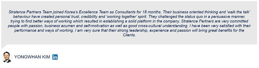 Yongwhan Kim Stratence Partners Referenc