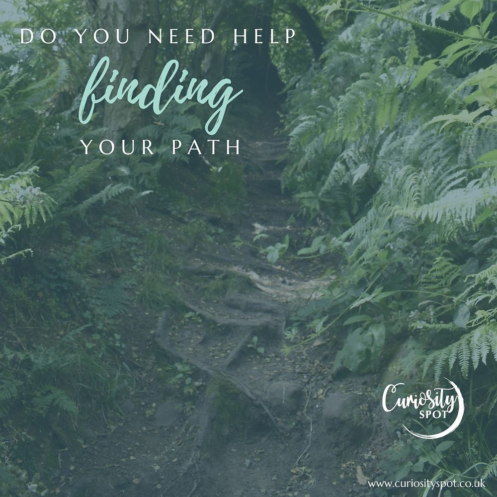 Woodland path with green leaves on either side. Text reads 'Do you need help finding your path'