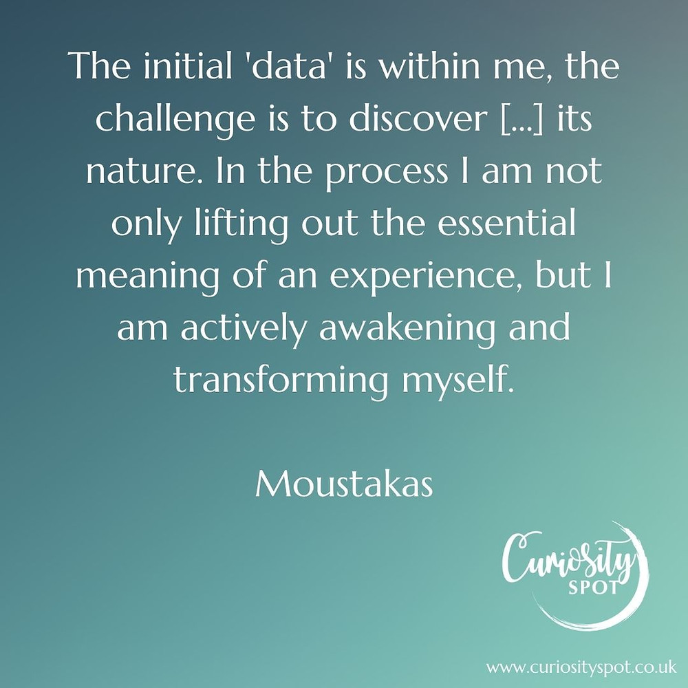 White text on a teal background reads 'The initial 'data' is within me, the challenge is to discover [...] its nature. In the process I am not only lifting out the essential meaning of an experience, but I am actively awakening and transforming myself. Moustakas'