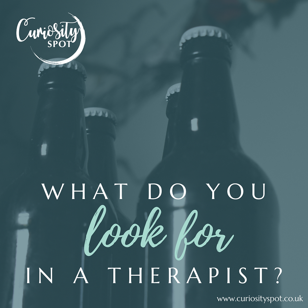 Four dark beer bottles group together, shop from below. Text reads 'What do you look for in a therapist?'