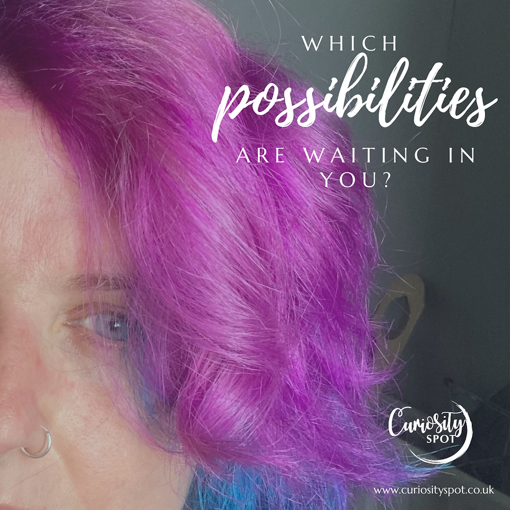 Pink hair and an eye. Text reads Which possibilities are waiting in you?
