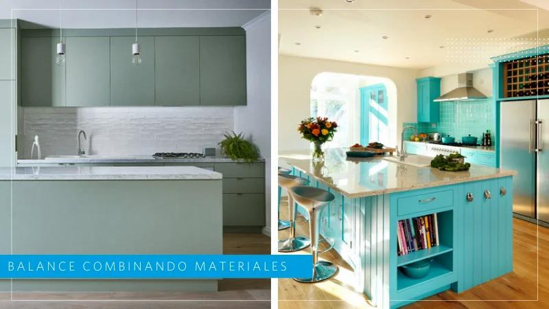 diseño de cocinas monocromáticas y materiales