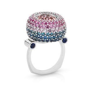 Cocktail Dress Ring with Pave Sapphires