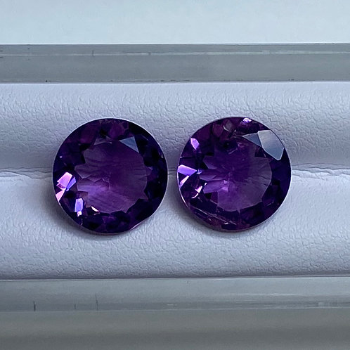 Amethyst Round Pair 11.35 Cts