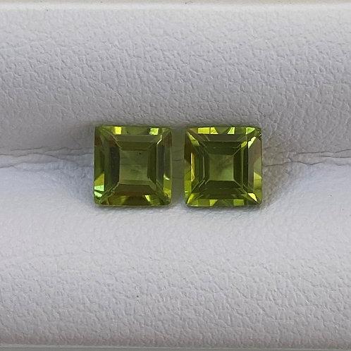 Peridot Squares 1.58ct Pair