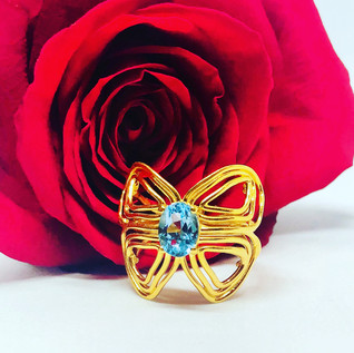 Butterfly Dress Ring with Blue Topaz