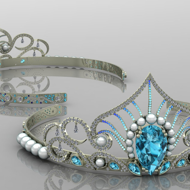 Tiara with Zircon Pearls Paraiba tourmal
