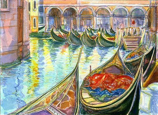 Venice: Moored Gondolas