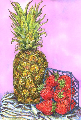 Still Life of Pineapple and Strawberries