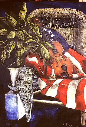 Still Life with Flag and Violin
