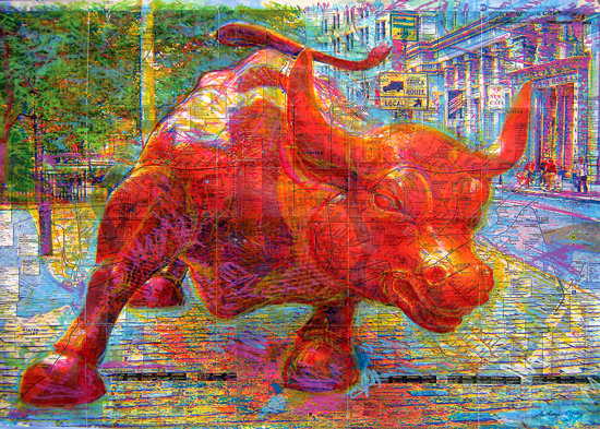 Wall Street Bull in Red on NYC Subway Map - SOLD