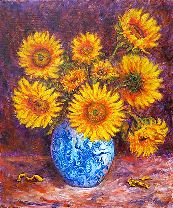 Sunflowers in a Dragon Vase - SOLD