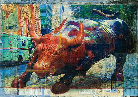 Wall Street Bull on NYC Subway Map - SOLD