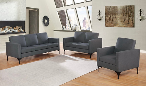"""""""LUCY"""" 2-PCS SOFA SET IN GREY FABRIC LINEN"""