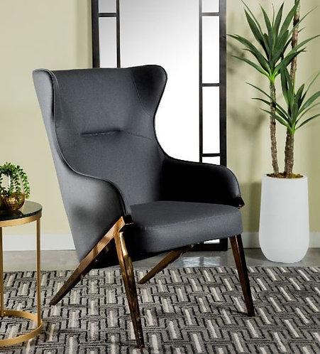 """""""Cartier"""" Accent Chair In Black Leather & Bronze Accents"""