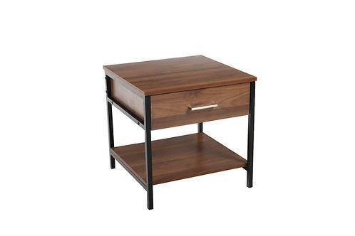 """JAZMIN"" END/SIDE/NIGHT STAND TABLE IN WALNUT/BLACK"
