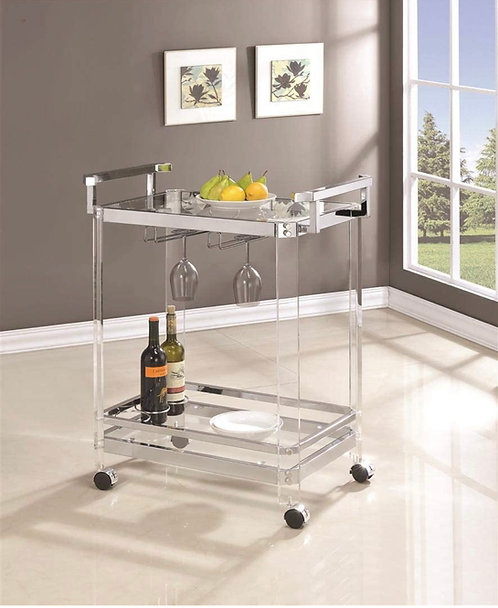 """""""Ferry"""" Acrylic Serving/Bar Cart With Cup Holders."""