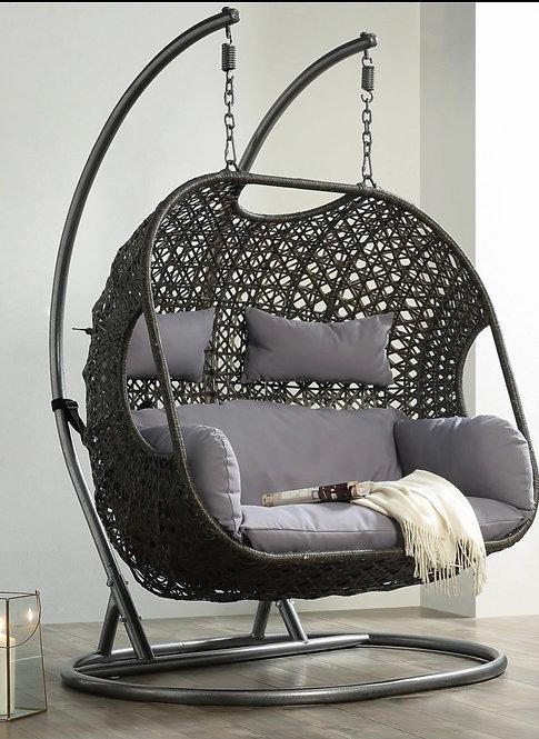 "Milano Design ""Cloud 2""  Double Swing Chair In Brown Wicker/Beige Cushions"