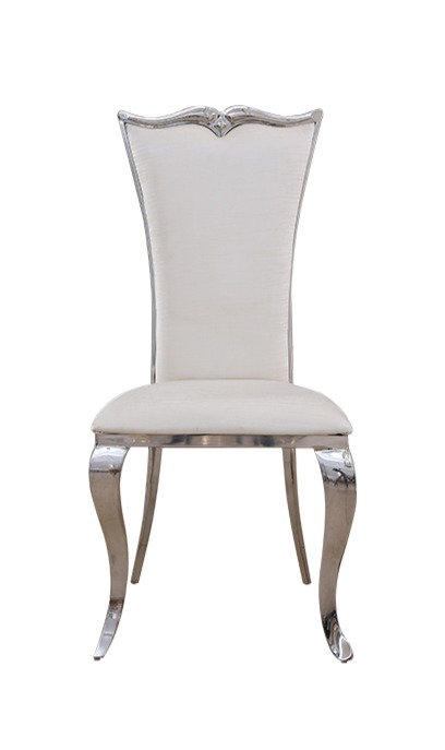 """""""KELLY"""" Dining Chair In White Leather/Stainless Steel"""