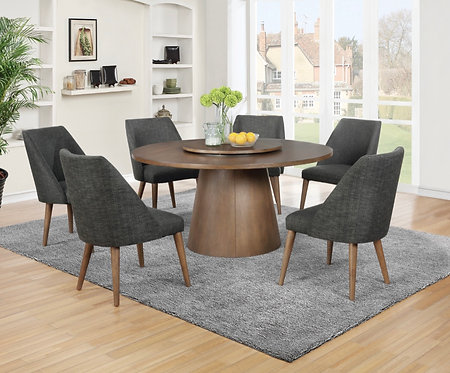 """""""BEVERLY"""" 7-PCS DINING SET IN COCOA AND GREY"""