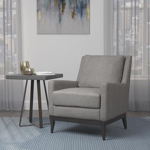 """Mathew"" Club Chair In Grey Tufted Linen Fabric/Dark Wood Finish"
