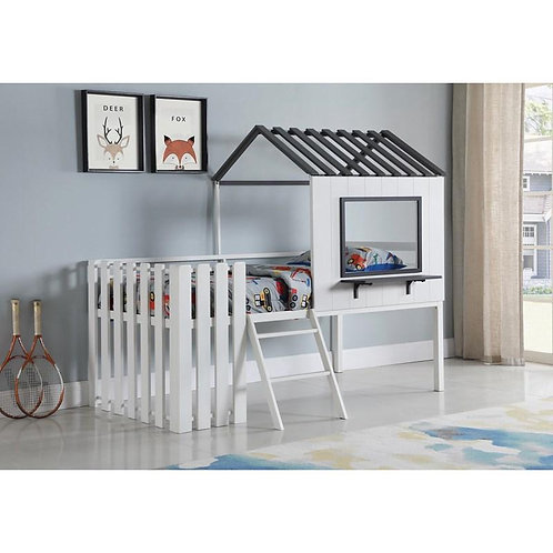 """""""TIMBER"""" HOUSE-DESIGNED TWIN LOFT BED WHITE AND GUNMETAL"""