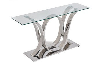 """""""AMBERS"""" Wave Design Console Table In Stainless Steel"""