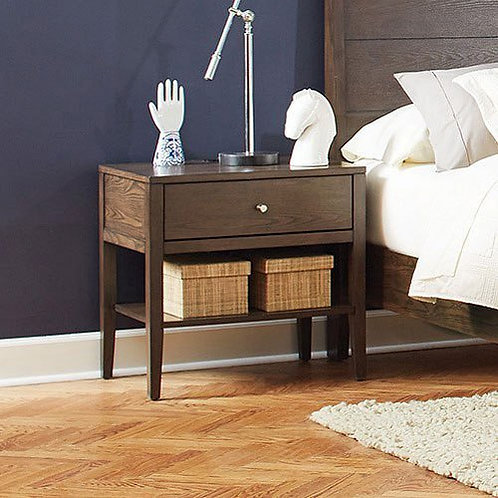 """""""Lompoc"""" Nightstand 1-Drawer In Ash Brown Finish"""
