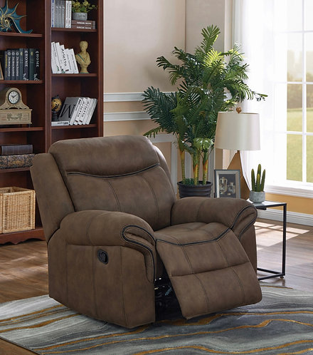 """""""Sawyer"""" Motion Recliner In Brown Fabric & Leather Accents."""