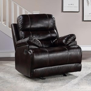 """""""Robby"""" Motion Recliner In Black Marine Vinyl With White Stiching."""