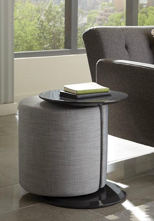 """Viviany"" Ottoman n Table In Grey Fabric & Black Finish"