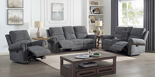 """Connor"" 2-Pcs Recliner Sofa Set In Grey Fabric"