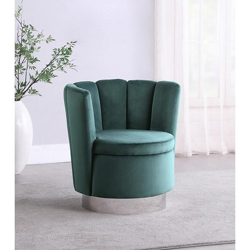 """""""ARIEL"""" CHANNELED SWIVEL CHAIR IN  TEAL AND SILVER"""