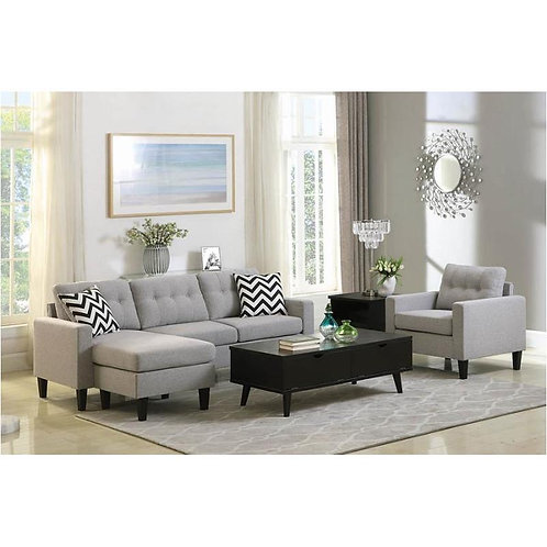 METRO TUFTED REVERSIBLE SECTIONAL IN LIGHT GREY