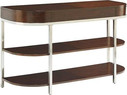 """""""MIRA"""" 2-SHELVE CONSOLE WITH SIDE DRAWERS IN CHERRY WOOD."""