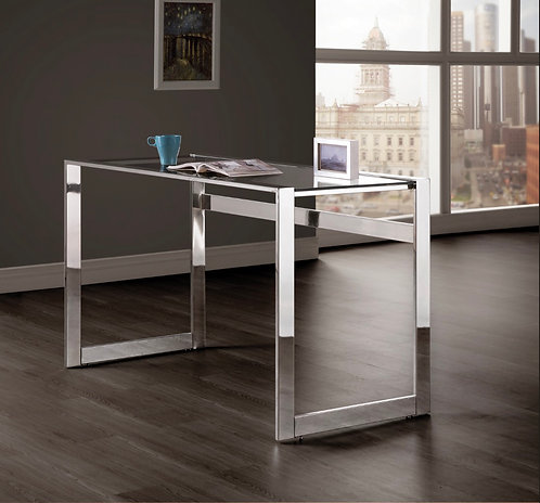 """""""HADER"""" WRITING DESK IN CHROME AND GLASS TOP"""
