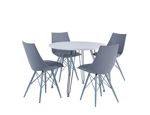 """""""RUBY"""" 5-PCS ROUND DINING SET IN GREY AND WHITE"""