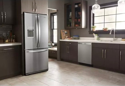 """Whirlpool 30"""" French Door Fridge With Ice Maker In Stainless Steel"""