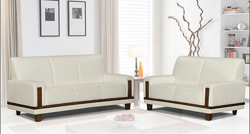 """MOCHA"" 2-PCS LIVING ROOM SET IN WHITE VINYL AND WALNUT LEGS"