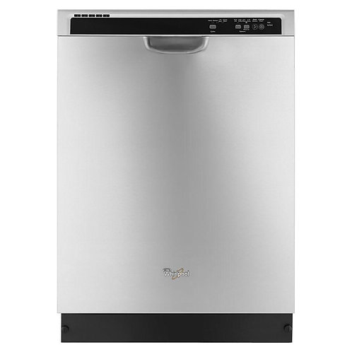 """Whirlpool - 24"""" Tall Tub Built-In Dishwasher - Monochromatic Stainless Steel"""
