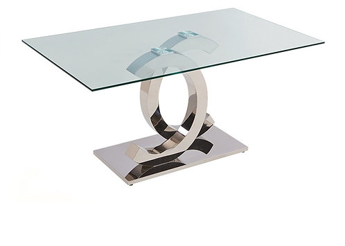 """""""SHARON"""" Rectangle Dining Table In Stainless Steel"""