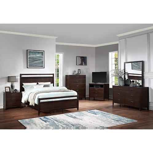 """""""Tyler"""" Cherry Brown Queen/King  4-PCS Bedroom."""