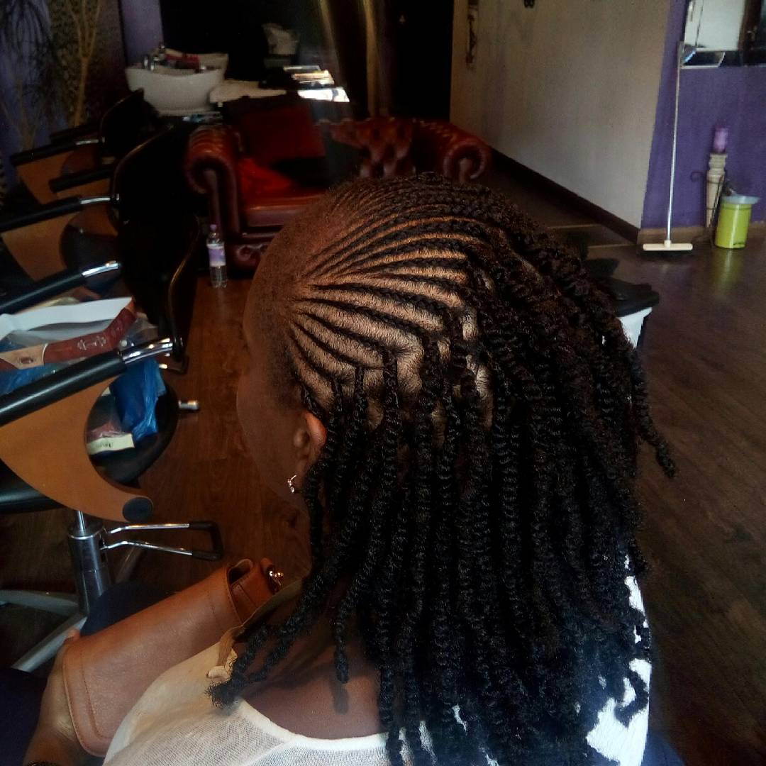 Two Strand Twist Ext with Cornrow