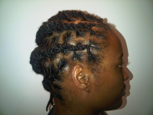Basket weaved side sweep (locs)