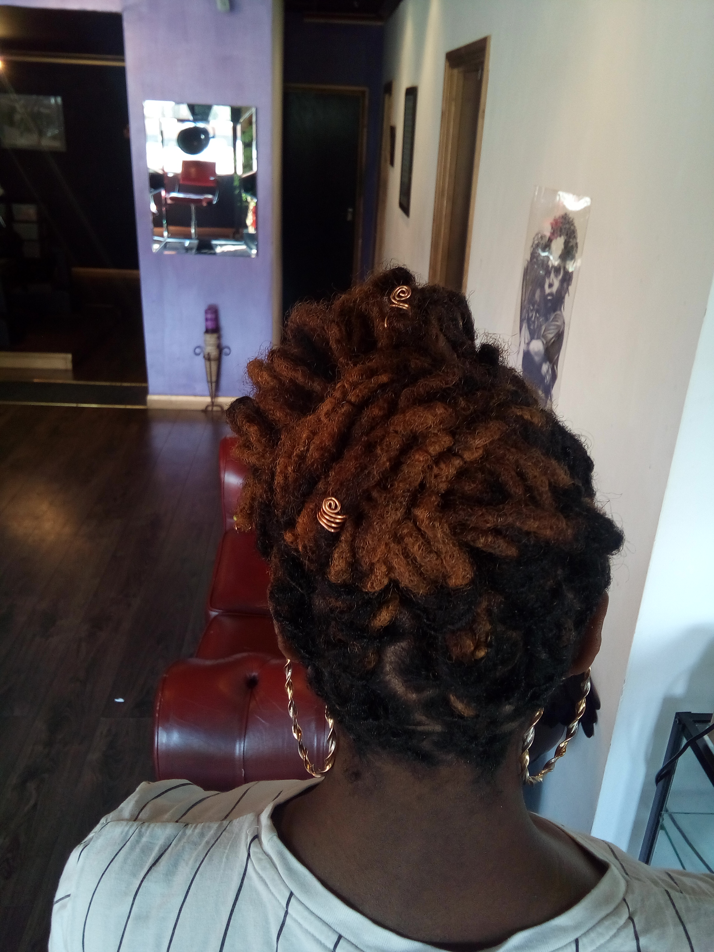 Loc updo and Loc petals