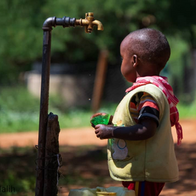 Water from the Ewaso Ngiro river supplying a community